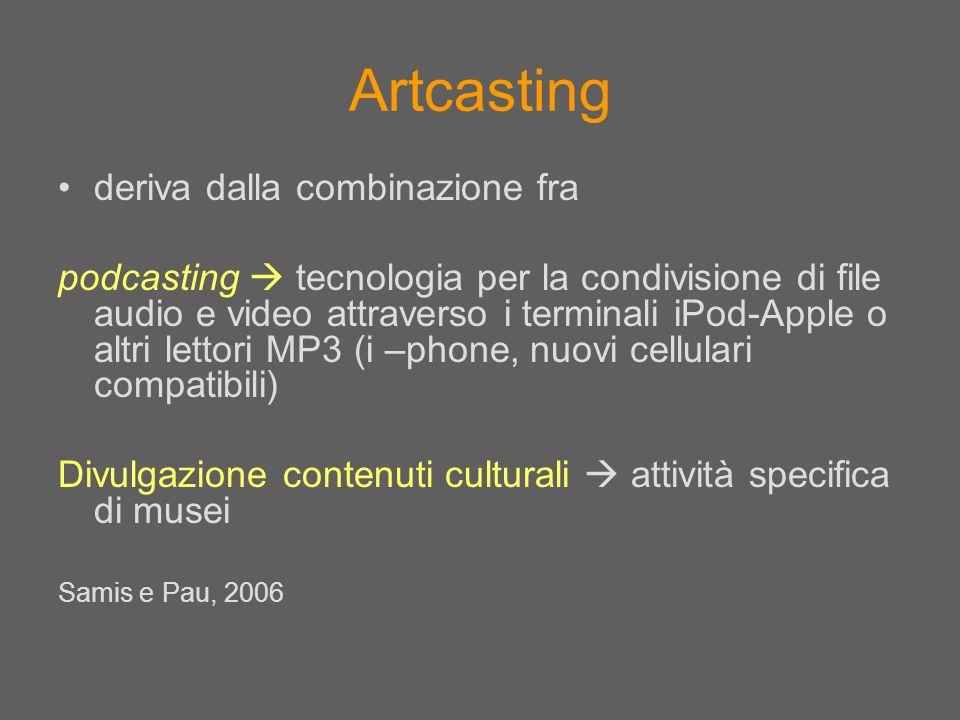 Artcasting deriva dalla combinazione fra podcasting tecnologia per la condivisione di file audio e video attraverso i terminali iPod-Apple o altri let