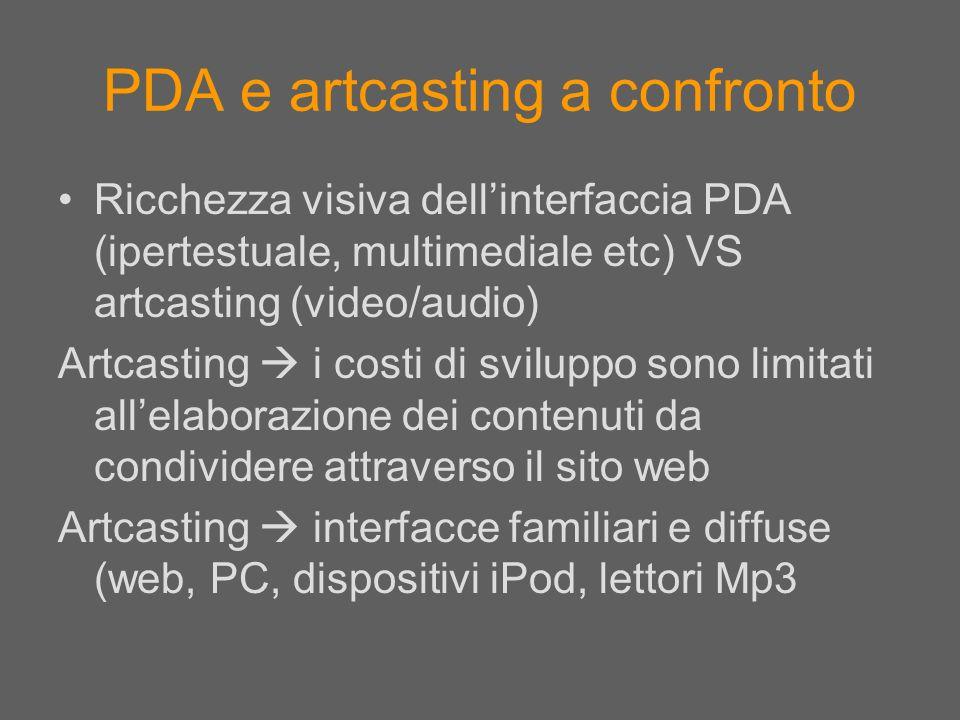 PDA e artcasting a confronto Ricchezza visiva dellinterfaccia PDA (ipertestuale, multimediale etc) VS artcasting (video/audio) Artcasting i costi di s