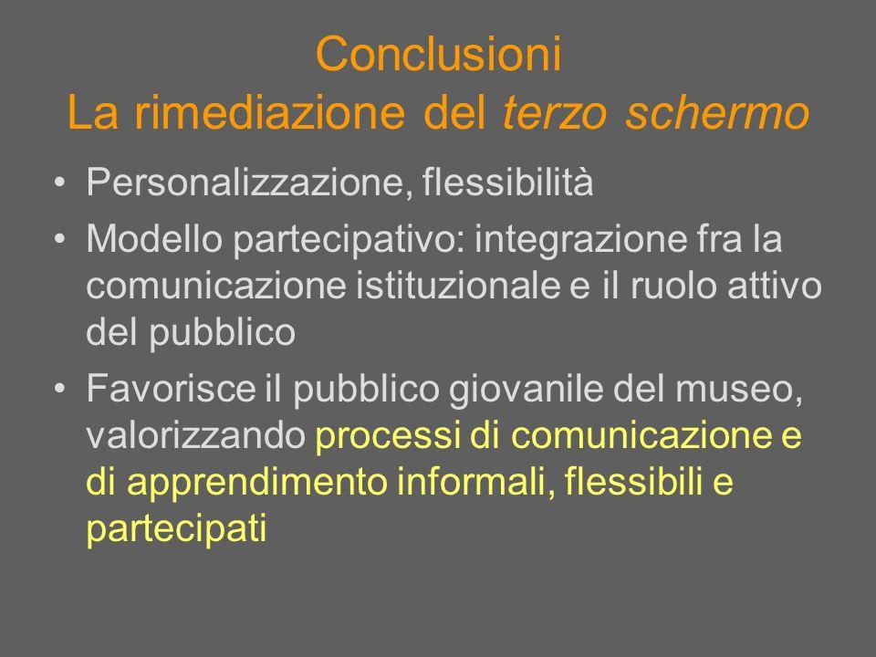 Conclusioni La rimediazione del terzo schermo Personalizzazione, flessibilità Modello partecipativo: integrazione fra la comunicazione istituzionale e