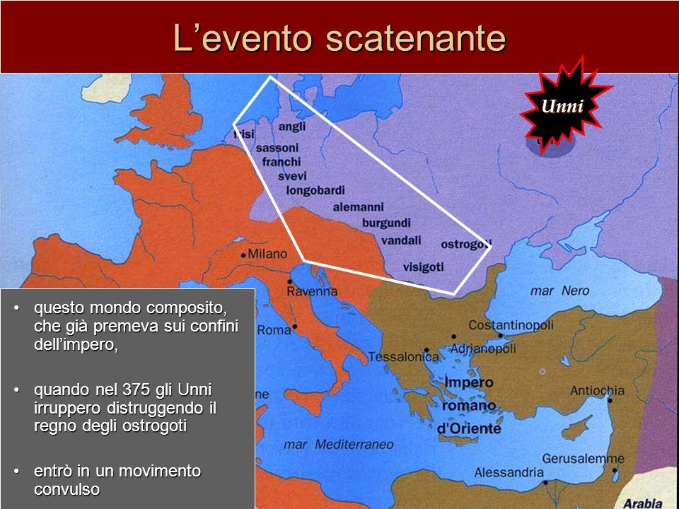 In quattro ondate successive: 376: i visigoti376: i visigoti –varcano il Danubio –sconfiggono limperatore Valente –scorrono per limpero fino a stanziarsi in Aquitania nel 418 31 dicembre 40631 dicembre 406 –i vandali invadono la Gallia –i burgundi e alani attraverso la breccia aperta affluiscono stanziandosi rispettivamente nelle attuali Borgogna e Alsazia più lenta la terza ondata:più lenta la terza ondata: –409: gli svevi si stanziano nella Spagna del nord-ovest –429-439: i vandali in Africa del nord e nelle isole mediterranee fine V secolo:fine V secolo: –gli ostrogoti in Italia –486-511: i franchi di Clodoveo conquistano la Gallia e spingono i visigoti in Spagna –angli, juti e sassoni in Bretagna