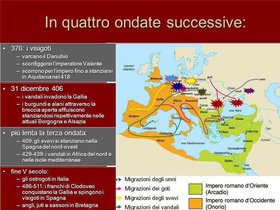 In quattro ondate successive: 376: i visigoti376: i visigoti –varcano il Danubio –sconfiggono limperatore Valente –scorrono per limpero fino a stanzia