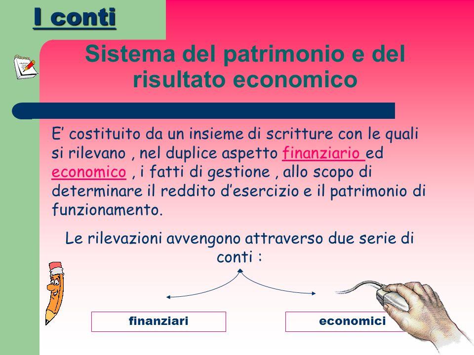 Sistema del patrimonio e del risultato economico E costituito da un insieme di scritture con le quali si rilevano, nel duplice aspetto finanziario ed