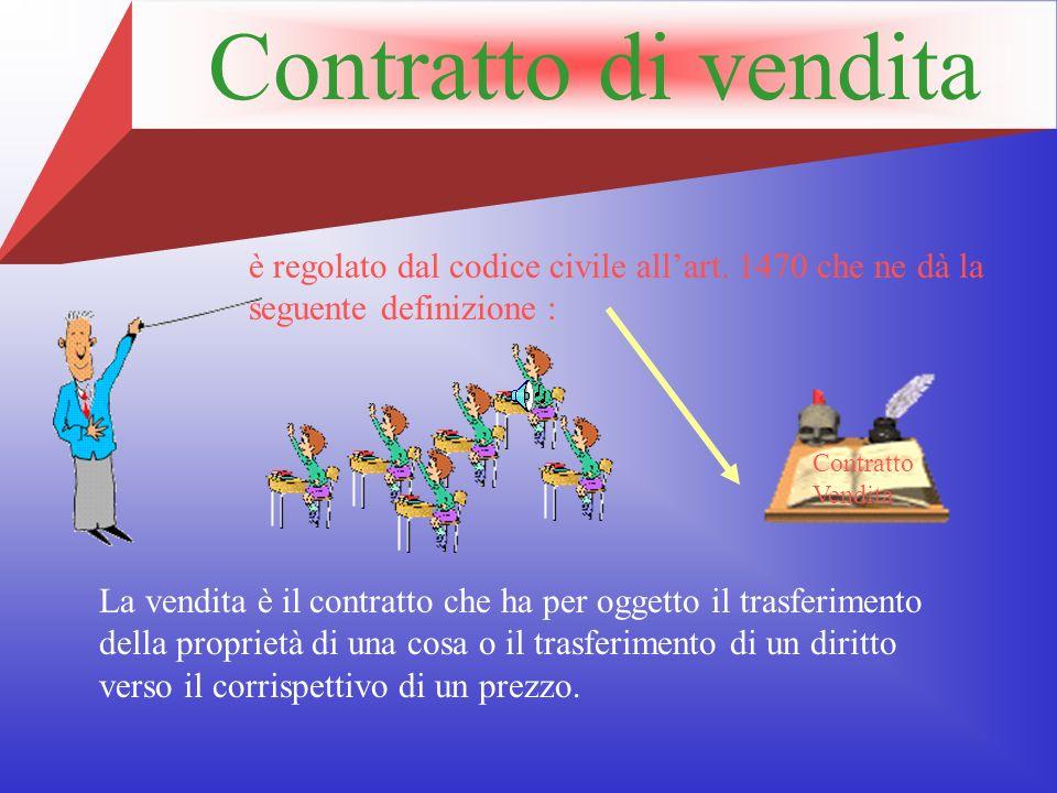 Contratto di vendita La vendita è il contratto che ha per oggetto il trasferimento della proprietà di una cosa o il trasferimento di un diritto verso