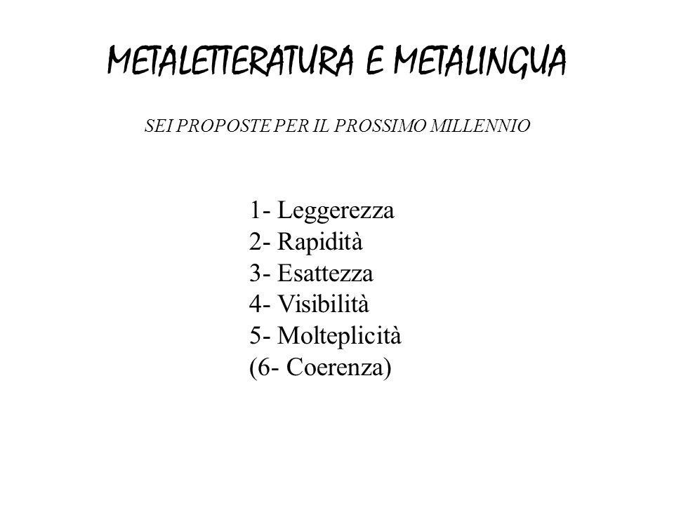 METALETTERATURA E METALINGUA SEI PROPOSTE PER IL PROSSIMO MILLENNIO 1- Leggerezza 2- Rapidità 3- Esattezza 4- Visibilità 5- Molteplicità (6- Coerenza)