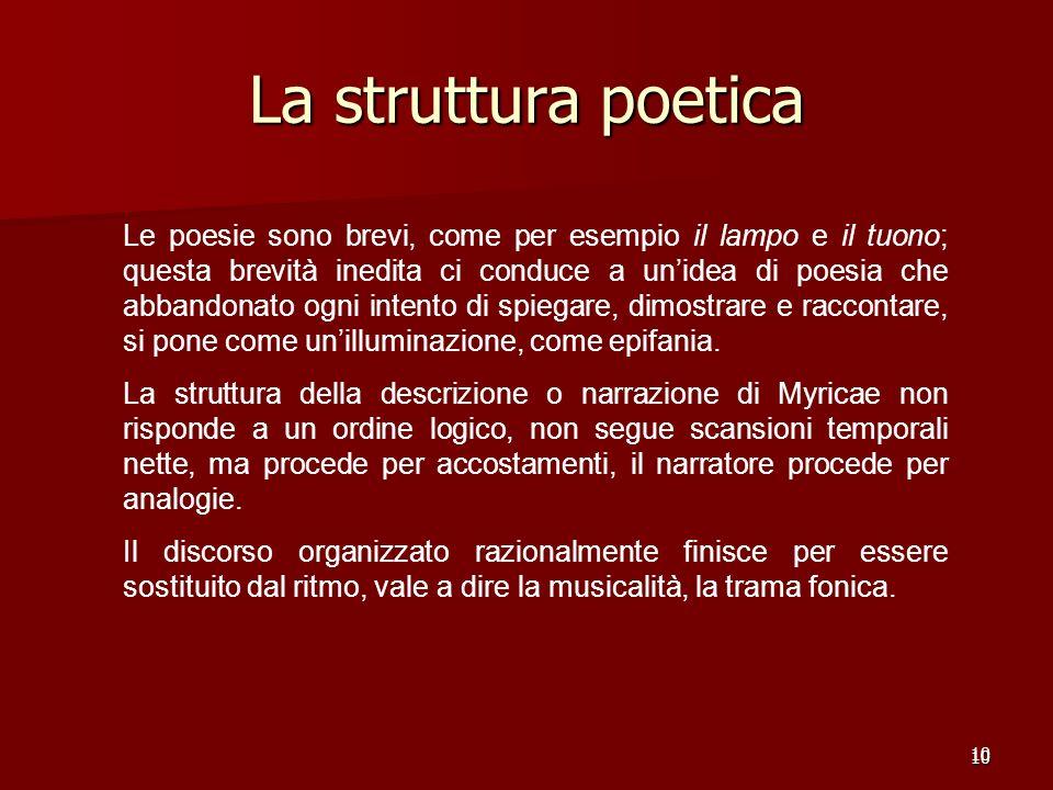 10 La struttura poetica 10 Le poesie sono brevi, come per esempio il lampo e il tuono; questa brevità inedita ci conduce a unidea di poesia che abband