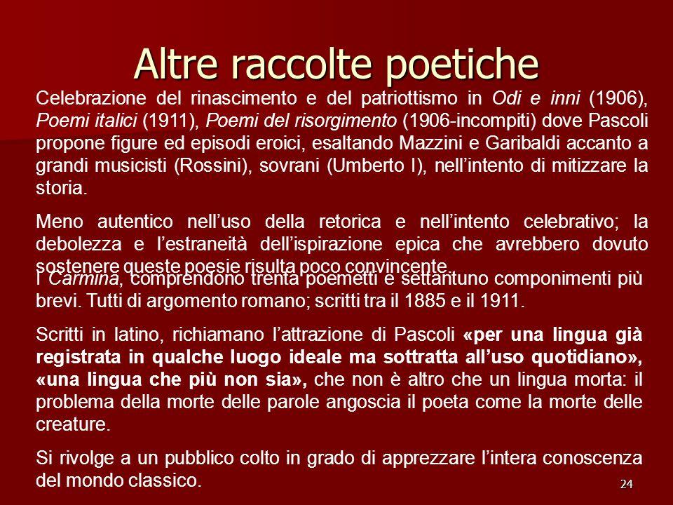 24 Altre raccolte poetiche Celebrazione del rinascimento e del patriottismo in Odi e inni (1906), Poemi italici (1911), Poemi del risorgimento (1906-i
