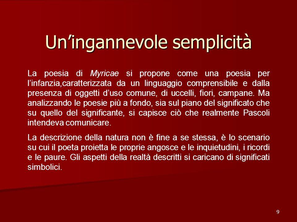 Uningannevole semplicità 9 La poesia di Myricae si propone come una poesia per linfanzia,caratterizzata da un linguaggio comprensibile e dalla presenz
