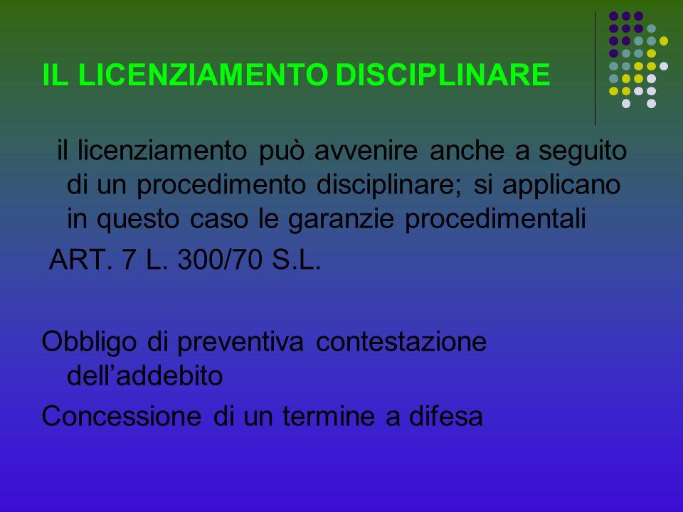 IL LICENZIAMENTO DISCIPLINARE il licenziamento può avvenire anche a seguito di un procedimento disciplinare; si applicano in questo caso le garanzie p