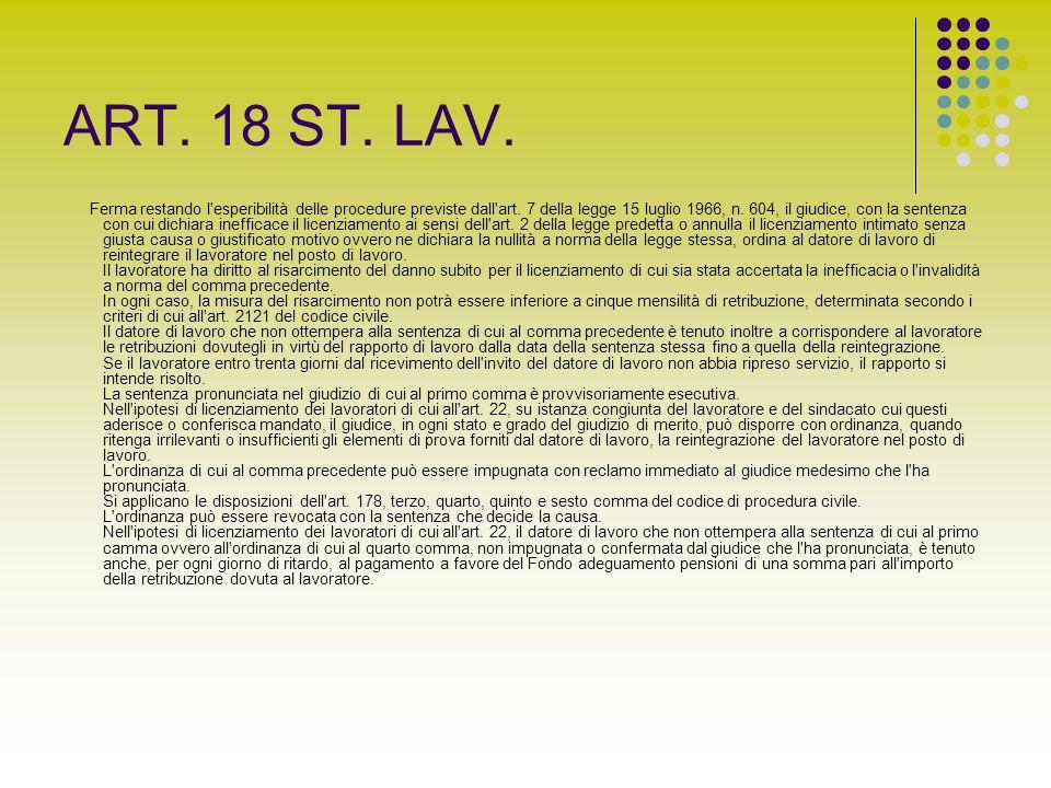 ART. 18 ST. LAV. Ferma restando l'esperibilità delle procedure previste dall'art. 7 della legge 15 luglio 1966, n. 604, il giudice, con la sentenza co