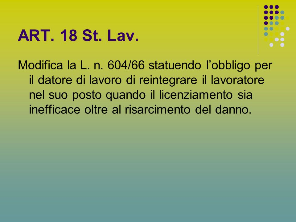 ART.18 St. Lav. Modifica la L. n.