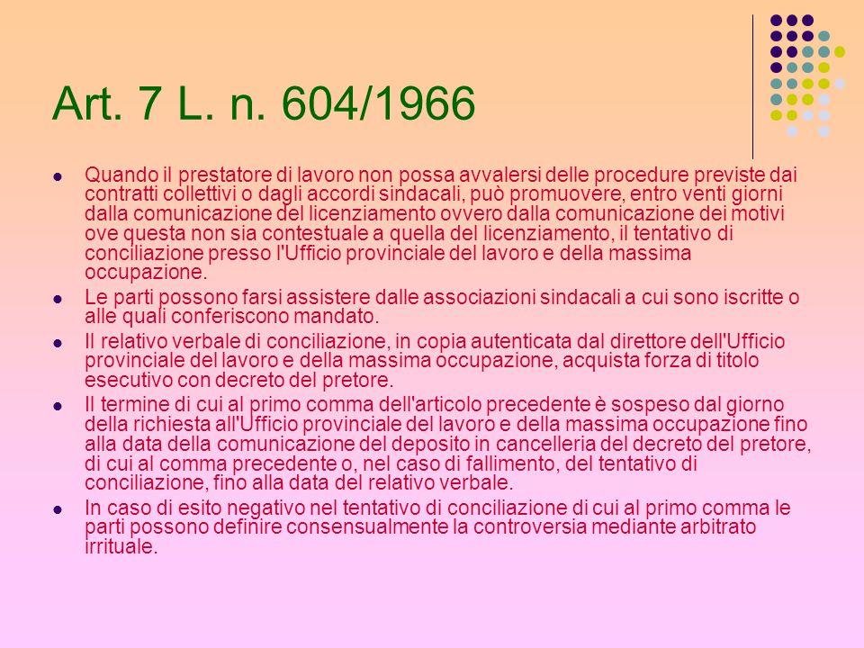 Art. 7 L. n. 604/1966 Quando il prestatore di lavoro non possa avvalersi delle procedure previste dai contratti collettivi o dagli accordi sindacali,