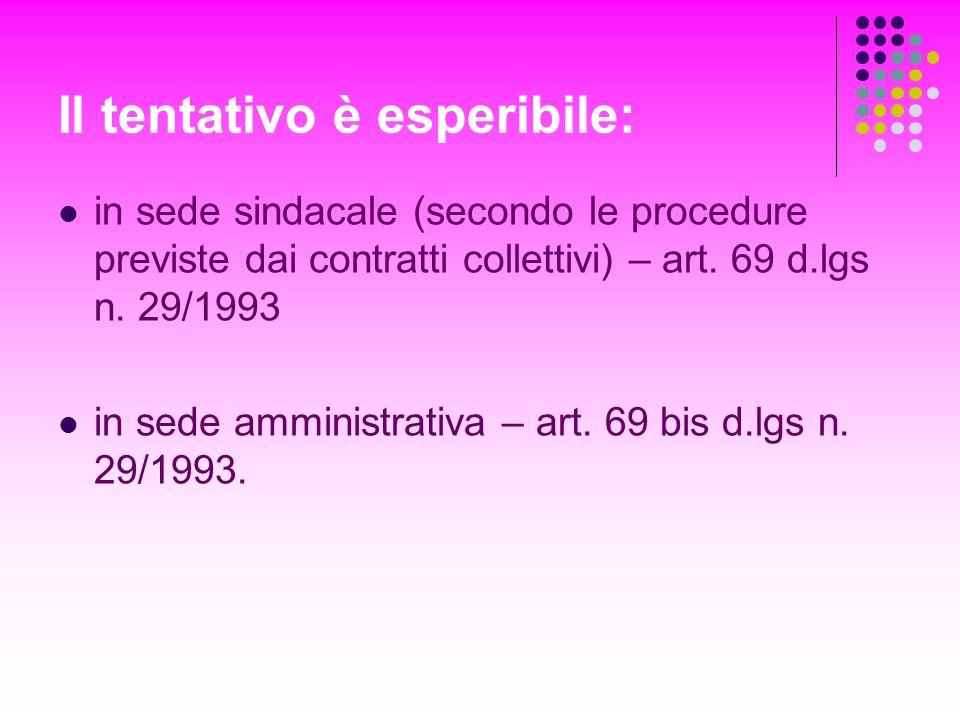 Il tentativo è esperibile: in sede sindacale (secondo le procedure previste dai contratti collettivi) – art. 69 d.lgs n. 29/1993 in sede amministrativ