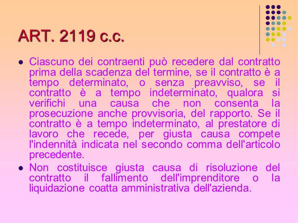ART. 2119 c.c. Ciascuno dei contraenti può recedere dal contratto prima della scadenza del termine, se il contratto è a tempo determinato, o senza pre