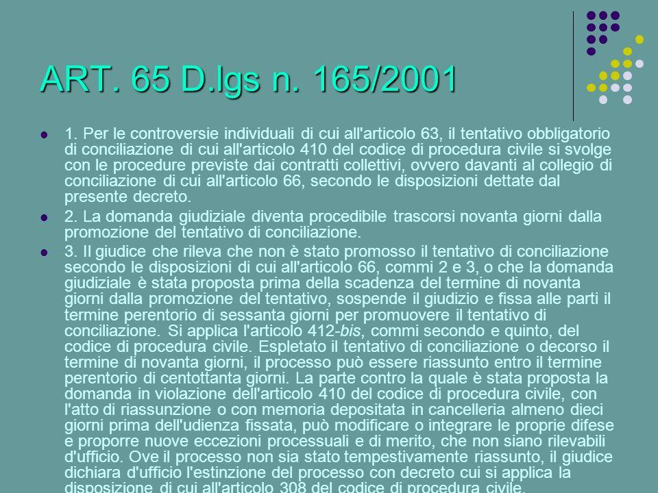 ART. 65 D.lgs n. 165/2001 1. Per le controversie individuali di cui all'articolo 63, il tentativo obbligatorio di conciliazione di cui all'articolo 41