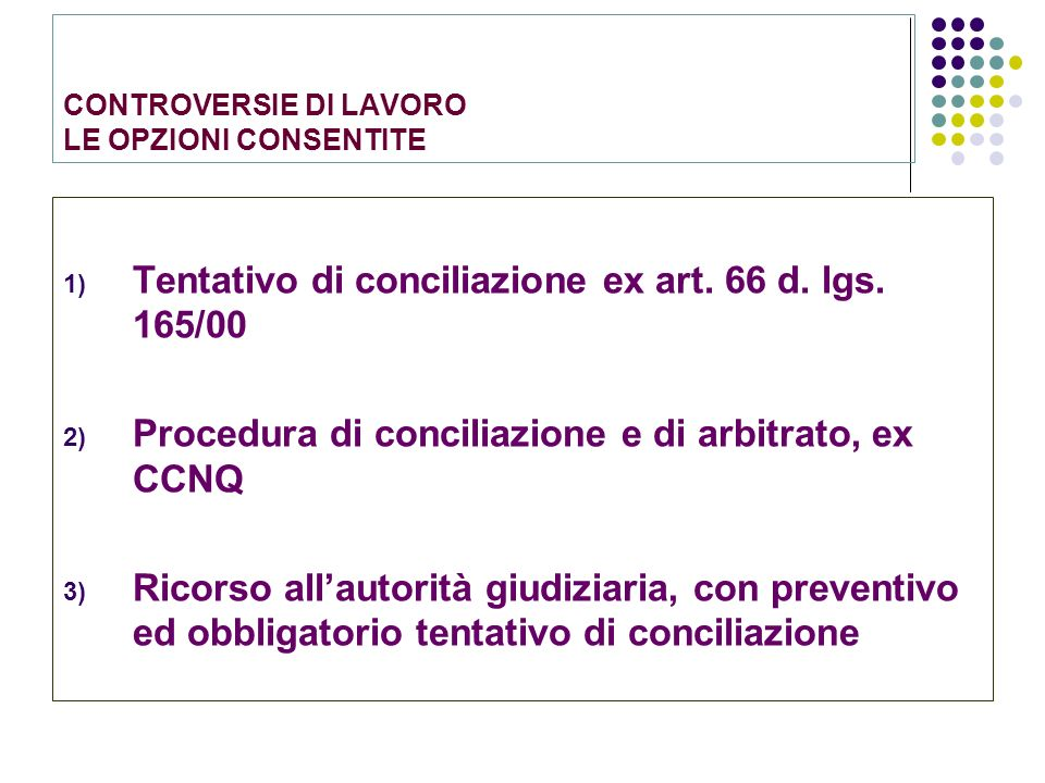 CONTROVERSIE DI LAVORO LE OPZIONI CONSENTITE 1) Tentativo di conciliazione ex art. 66 d. lgs. 165/00 2) Procedura di conciliazione e di arbitrato, ex