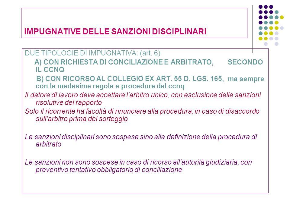 IMPUGNATIVE DELLE SANZIONI DISCIPLINARI DUE TIPOLOGIE DI IMPUGNATIVA: (art. 6) A) CON RICHIESTA DI CONCILIAZIONE E ARBITRATO, SECONDO IL CCNQ B) CON R