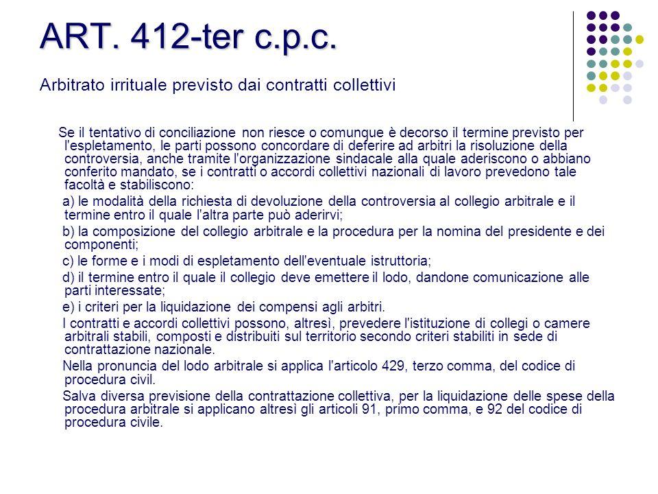 ART. 412-ter c.p.c. ART. 412-ter c.p.c. Arbitrato irrituale previsto dai contratti collettivi Se il tentativo di conciliazione non riesce o comunque è