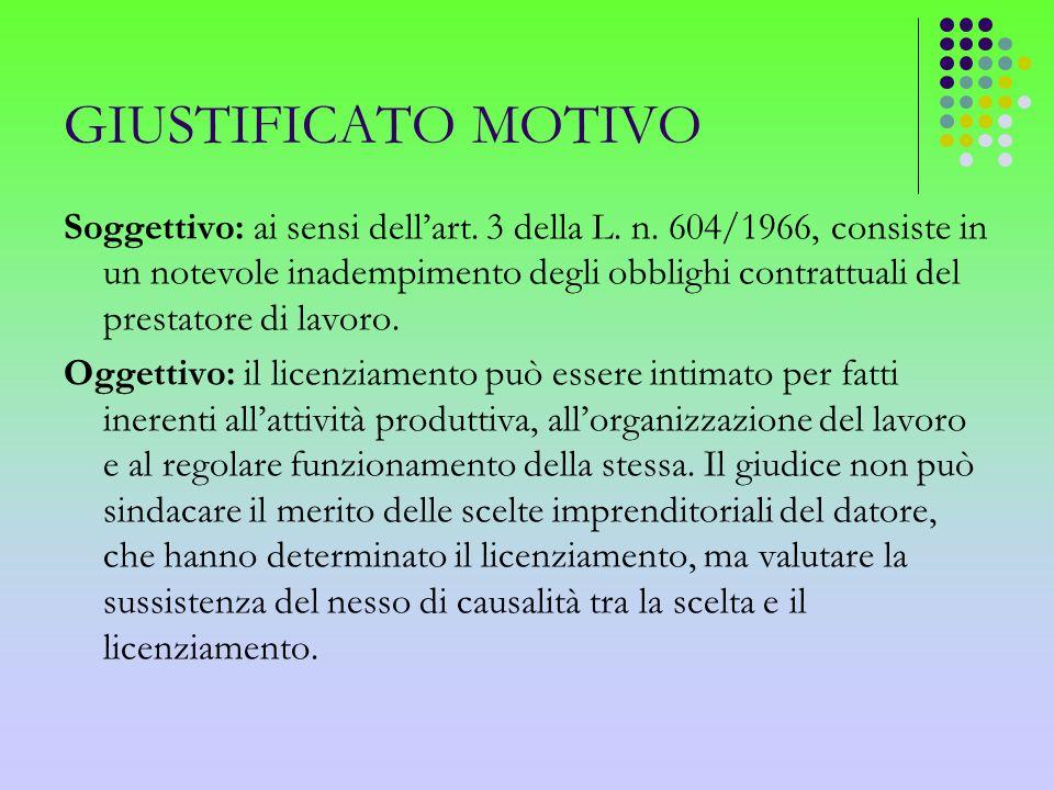 GIUSTIFICATO MOTIVO Soggettivo: ai sensi dellart. 3 della L. n. 604/1966, consiste in un notevole inadempimento degli obblighi contrattuali del presta