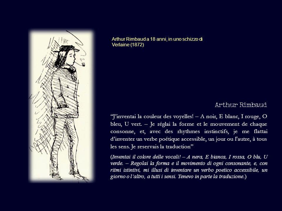 Arthur Rimbaud a 18 anni, in uno schizzo di Verlaine (1872) Arthur Rimbaud Jinventai la couleur des voyelles! – A noir, E blanc, I rouge, O bleu, U ve