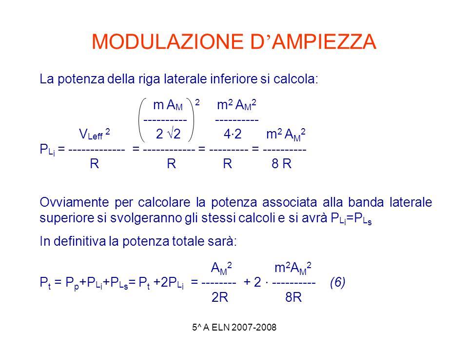 5^ A ELN 2007-2008 MODULAZIONE D AMPIEZZA La potenza della riga laterale inferiore si calcola: m A M 2 m 2 A M 2 ---------- ---------- V Leff 2 2 2 4