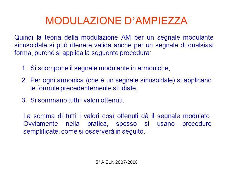 5^ A ELN 2007-2008 MODULAZIONE D AMPIEZZA Quindi la teoria della modulazione AM per un segnale modulante sinusoidale si può ritenere valida anche per