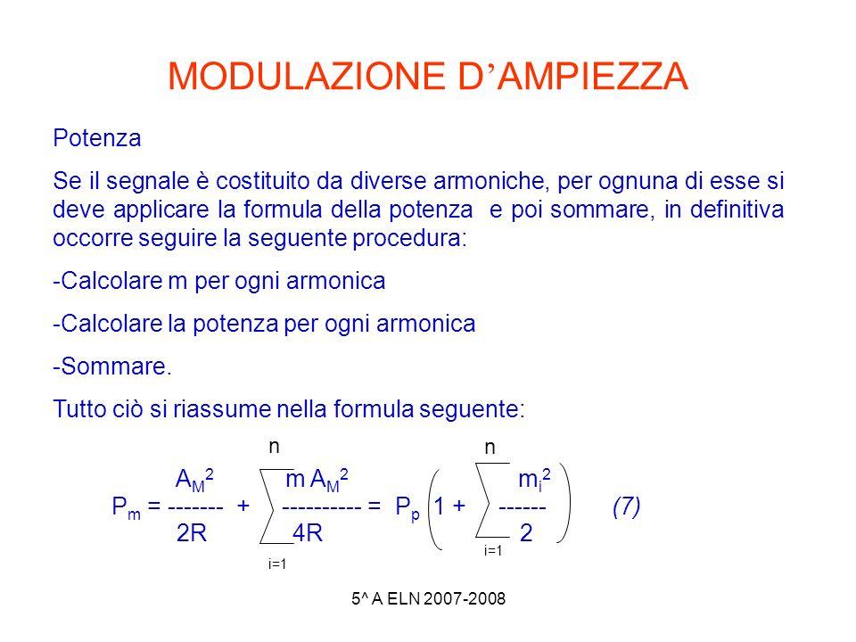 5^ A ELN 2007-2008 MODULAZIONE D AMPIEZZA Potenza Se il segnale è costituito da diverse armoniche, per ognuna di esse si deve applicare la formula del
