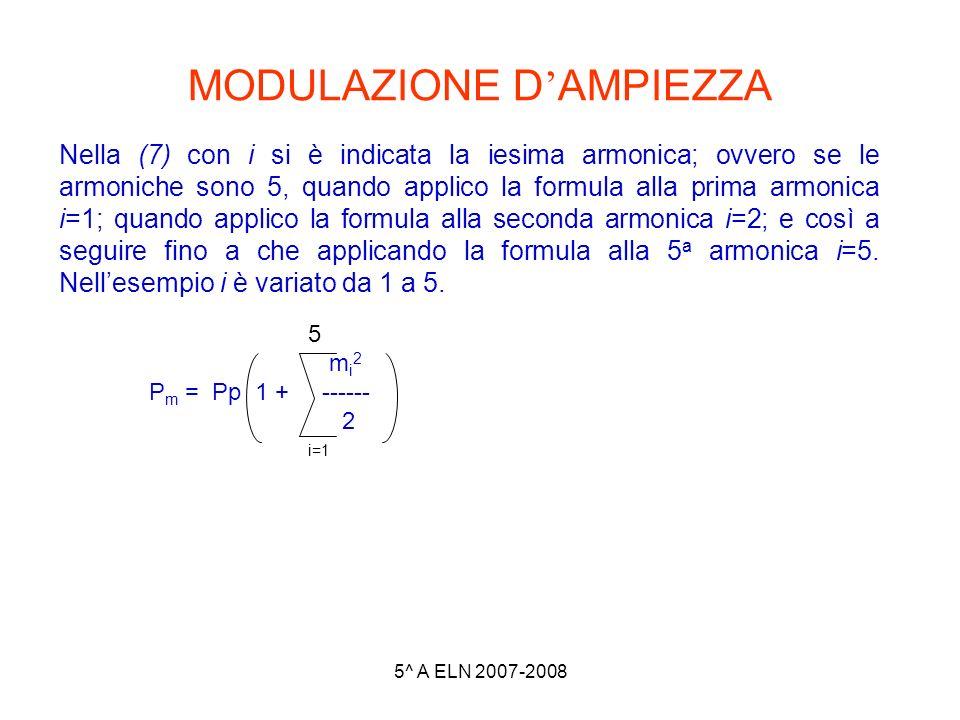 5^ A ELN 2007-2008 MODULAZIONE D AMPIEZZA Nella (7) con i si è indicata la iesima armonica; ovvero se le armoniche sono 5, quando applico la formula a