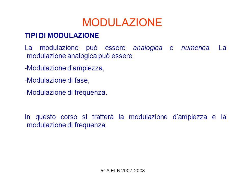 5^ A ELN 2007-2008 MODULAZIONE TIPI DI MODULAZIONE La modulazione può essere analogica e numerica. La modulazione analogica può essere. -Modulazione d