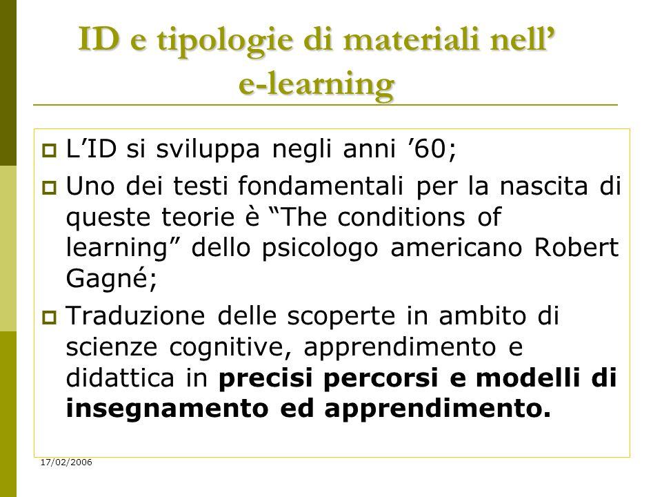 17/02/2006 Qualche definizione: Instructional system design Metodologia di progettazione didattica, utilizzata sia nella formazione tradizionale sia in quella in autoistruzione.