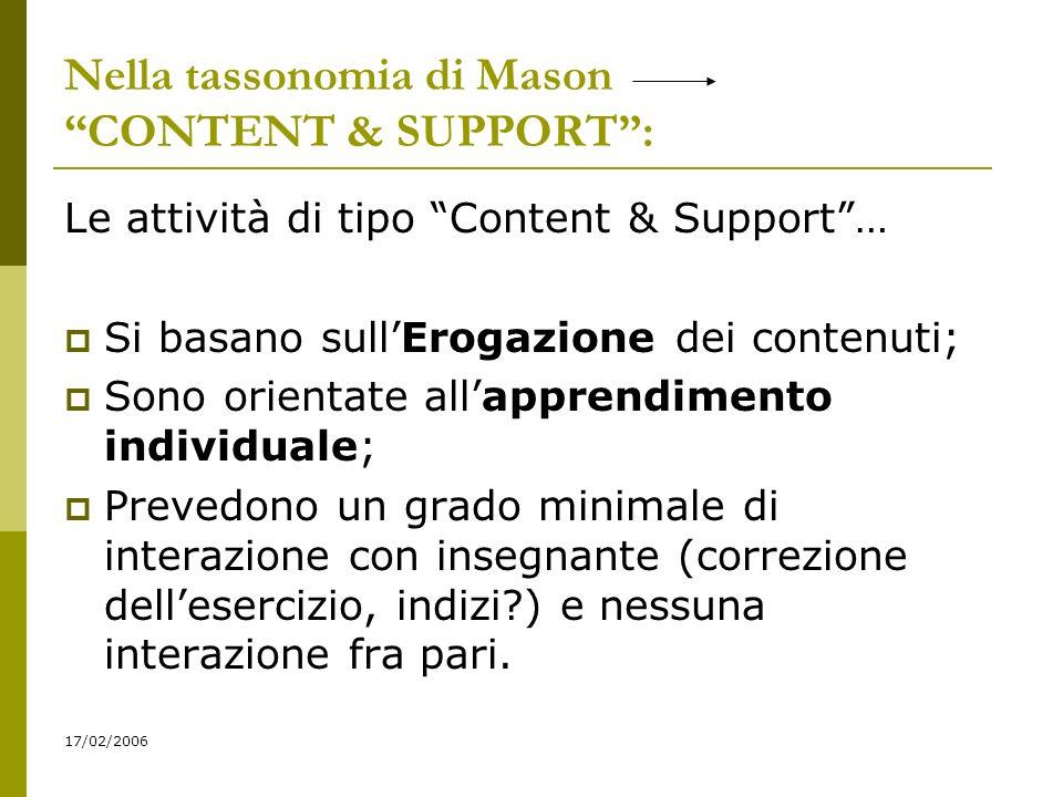 Nella tassonomia di Mason CONTENT & SUPPORT: Le attività di tipo Content & Support… Si basano sullErogazione dei contenuti; Sono orientate allapprendimento individuale; Prevedono un grado minimale di interazione con insegnante (correzione dellesercizio, indizi?) e nessuna interazione fra pari.
