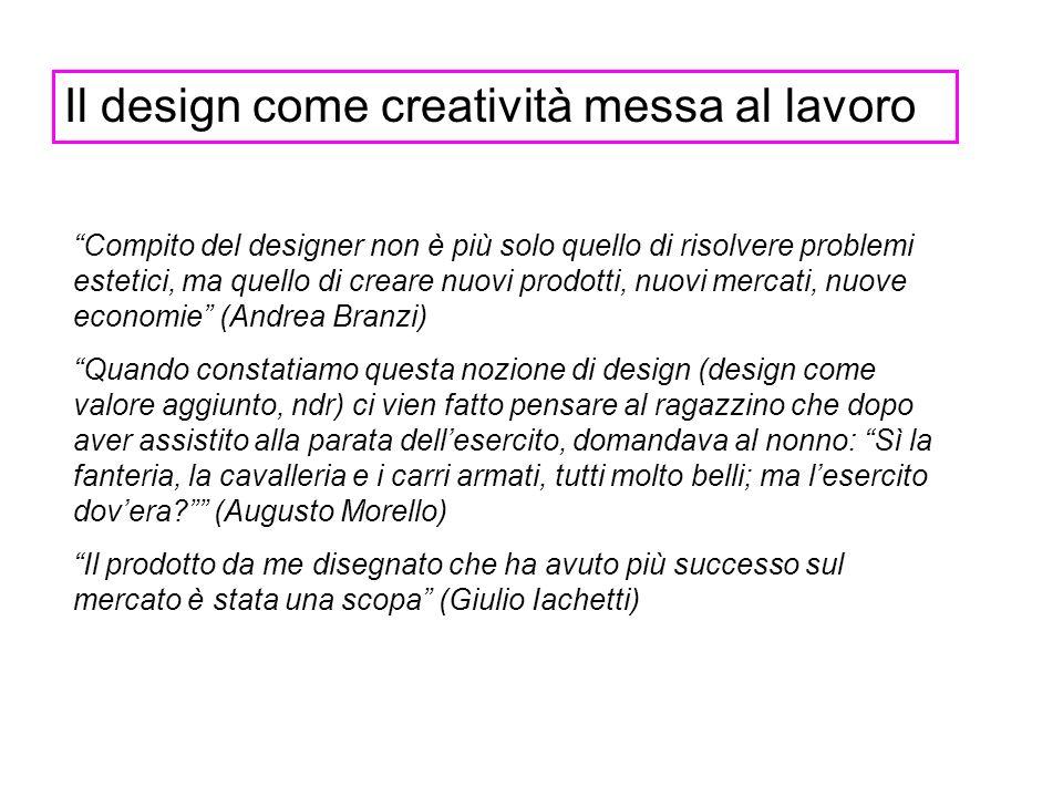 Il design come creatività messa al lavoro Compito del designer non è più solo quello di risolvere problemi estetici, ma quello di creare nuovi prodott