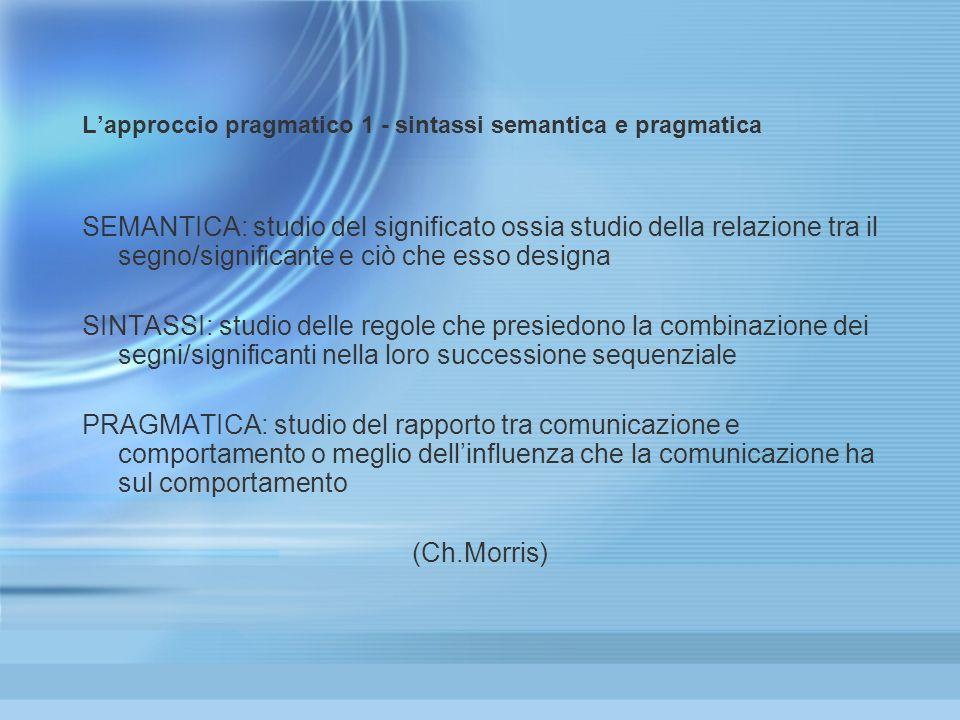 Lapproccio pragmatico 1 - sintassi semantica e pragmatica SEMANTICA: studio del significato ossia studio della relazione tra il segno/significante e c