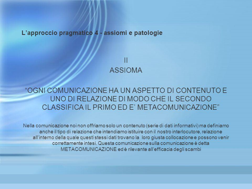 Lapproccio pragmatico 4 - assiomi e patologie II ASSIOMA OGNI COMUNICAZIONE HA UN ASPETTO DI CONTENUTO E UNO DI RELAZIONE DI MODO CHE IL SECONDO CLASS