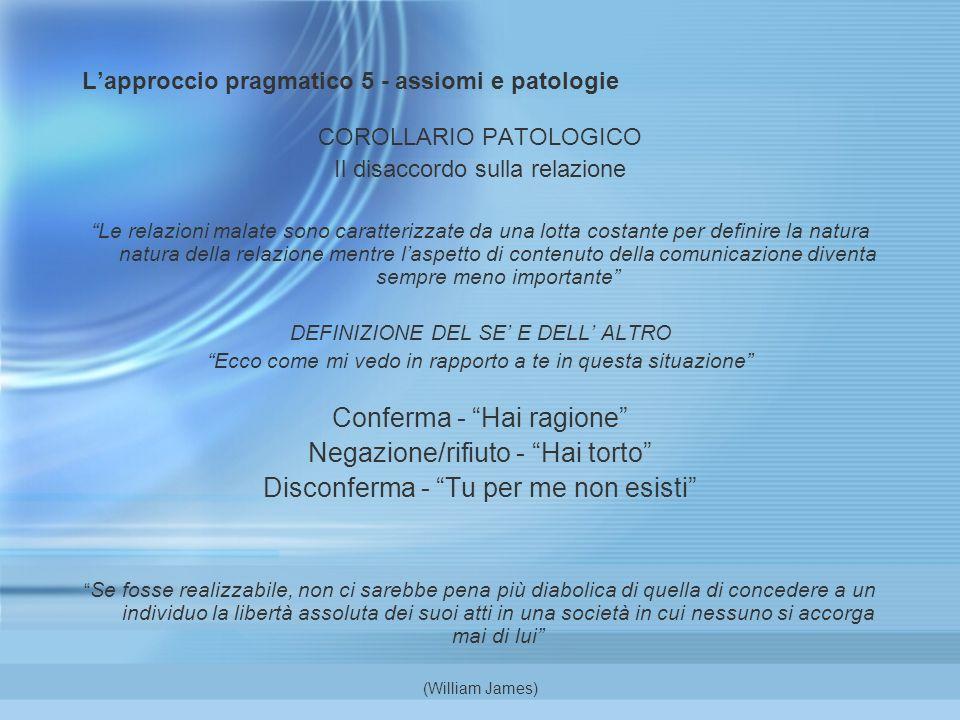 Lapproccio pragmatico 5 - assiomi e patologie COROLLARIO PATOLOGICO Il disaccordo sulla relazione Le relazioni malate sono caratterizzate da una lotta