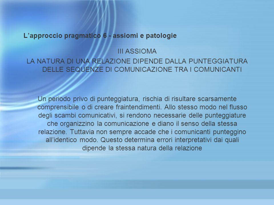 Lapproccio pragmatico 6 - assiomi e patologie III ASSIOMA LA NATURA DI UNA RELAZIONE DIPENDE DALLA PUNTEGGIATURA DELLE SEQUENZE DI COMUNICAZIONE TRA I