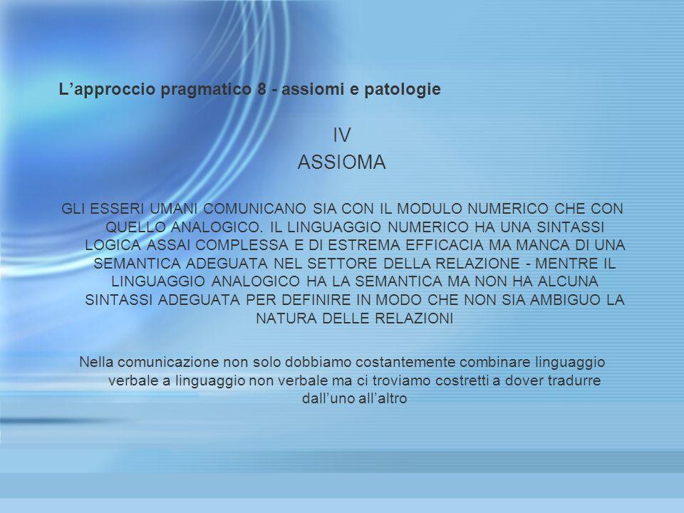 Lapproccio pragmatico 8 - assiomi e patologie IV ASSIOMA GLI ESSERI UMANI COMUNICANO SIA CON IL MODULO NUMERICO CHE CON QUELLO ANALOGICO. IL LINGUAGGI