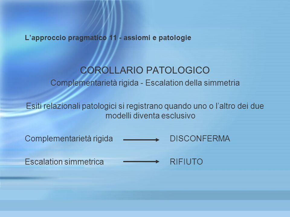 Lapproccio pragmatico 11 - assiomi e patologie COROLLARIO PATOLOGICO Complementarietà rigida - Escalation della simmetria Esiti relazionali patologici si registrano quando uno o laltro dei due modelli diventa esclusivo Complementarietà rigida DISCONFERMA Escalation simmetrica RIFIUTO COROLLARIO PATOLOGICO Complementarietà rigida - Escalation della simmetria Esiti relazionali patologici si registrano quando uno o laltro dei due modelli diventa esclusivo Complementarietà rigida DISCONFERMA Escalation simmetrica RIFIUTO