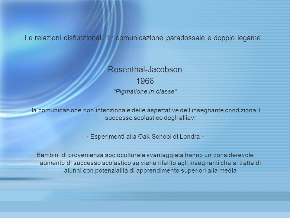 Le relazioni disfunzionali 1 : comunicazione paradossale e doppio legame Rosenthal-Jacobson 1966 Pigmalione in classe la comunicazione non intenzional