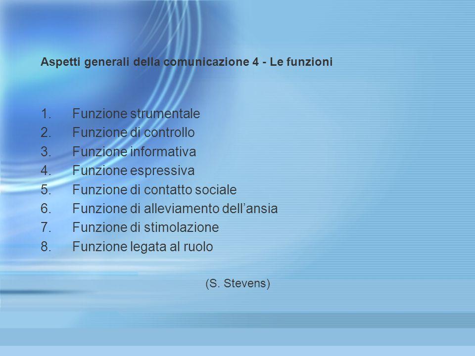 Aspetti generali della comunicazione 4 - Le funzioni 1.Funzione strumentale 2.Funzione di controllo 3.Funzione informativa 4.Funzione espressiva 5.Fun
