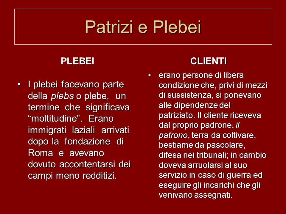 Patrizi e Plebei PLEBEI I plebei facevano parte della plebs o plebe, un termine che significava moltitudine. Erano immigrati laziali arrivati dopo la