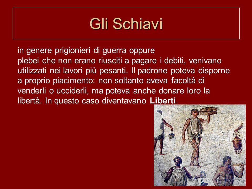 Gli Schiavi in genere prigionieri di guerra oppure plebei che non erano riusciti a pagare i debiti, venivano utilizzati nei lavori più pesanti.