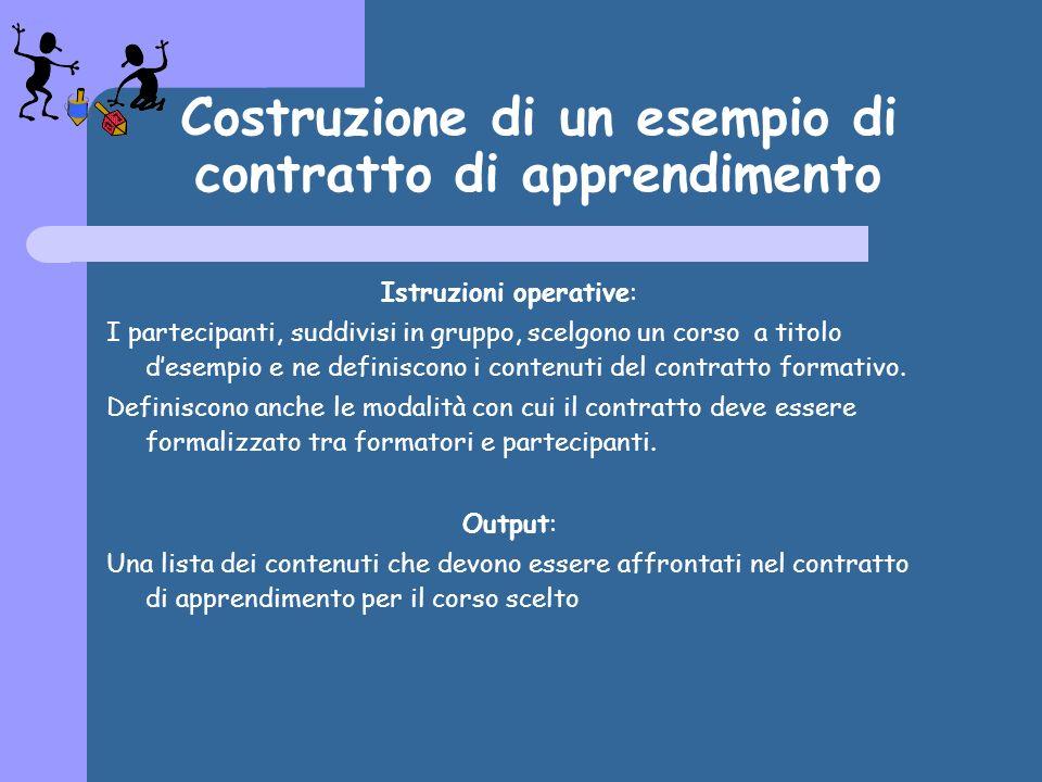 Costruzione di un esempio di contratto di apprendimento Istruzioni operative: I partecipanti, suddivisi in gruppo, scelgono un corso a titolo desempio e ne definiscono i contenuti del contratto formativo.