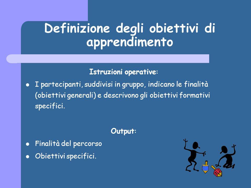 Definizione degli obiettivi di apprendimento Istruzioni operative: I partecipanti, suddivisi in gruppo, indicano le finalità (obiettivi generali) e descrivono gli obiettivi formativi specifici.