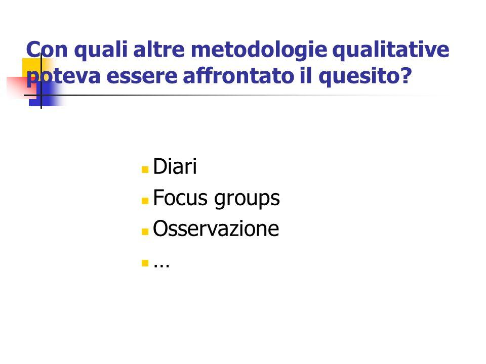 Con quali altre metodologie qualitative poteva essere affrontato il quesito? Diari Focus groups Osservazione …