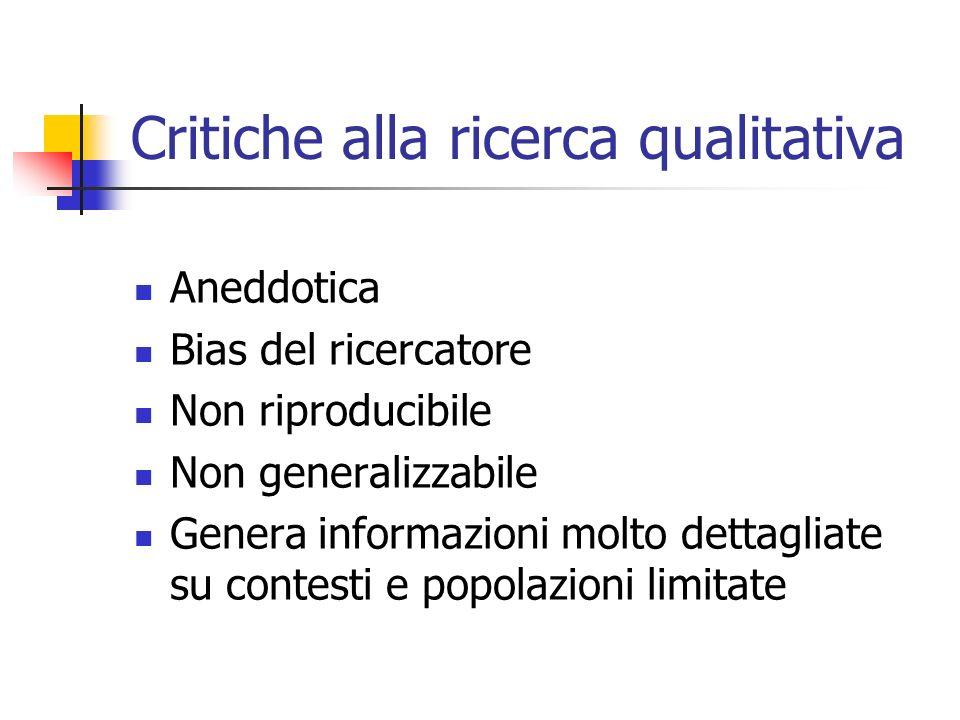 Critiche alla ricerca qualitativa Aneddotica Bias del ricercatore Non riproducibile Non generalizzabile Genera informazioni molto dettagliate su conte