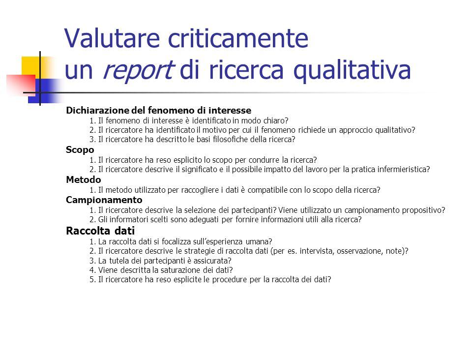 Valutare criticamente un report di ricerca qualitativa Dichiarazione del fenomeno di interesse 1. Il fenomeno di interesse è identificato in modo chia
