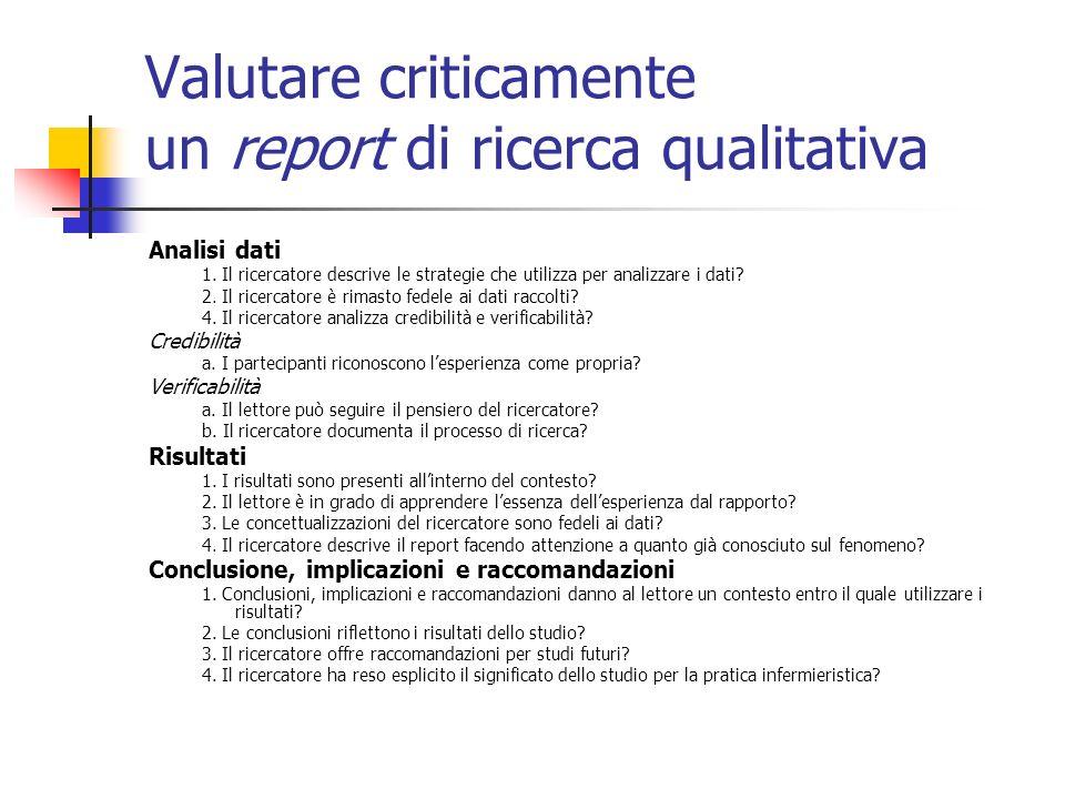 Analisi dati 1. Il ricercatore descrive le strategie che utilizza per analizzare i dati? 2. Il ricercatore è rimasto fedele ai dati raccolti? 4. Il ri