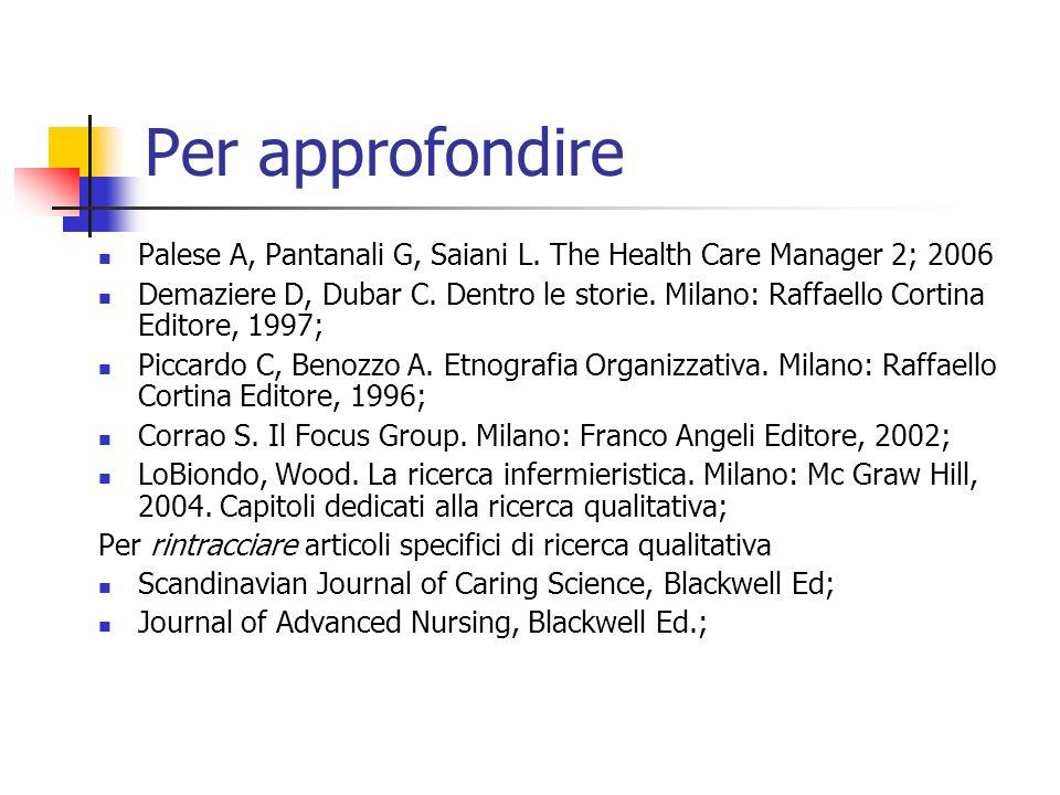 Per approfondire Palese A, Pantanali G, Saiani L. The Health Care Manager 2; 2006 Demaziere D, Dubar C. Dentro le storie. Milano: Raffaello Cortina Ed