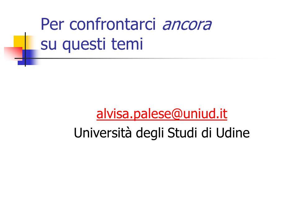 Per confrontarci ancora su questi temi alvisa.palese@uniud.it Università degli Studi di Udine