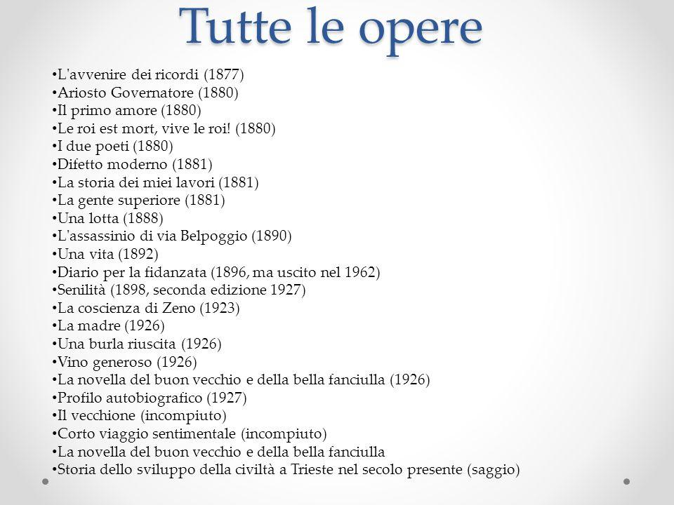 Tutte le opere L'avvenire dei ricordi (1877) Ariosto Governatore (1880) Il primo amore (1880) Le roi est mort, vive le roi! (1880) I due poeti (1880)